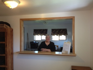 Pat in her new office space